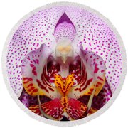 Throat Of An Orchid Round Beach Towel