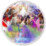 Round Beach Towel featuring the digital art Throneroom Dance by Dolores Develde
