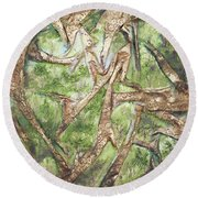 Round Beach Towel featuring the mixed media Through Lacy Branches by Angela Stout