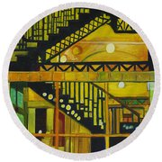 Through Parisian Glass Round Beach Towel