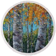 Through The Aspen Trees Diptych 1 Round Beach Towel