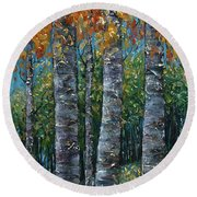 Through The Aspen Trees Diptych 2 Round Beach Towel
