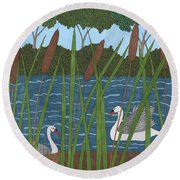 Through The Cattails Round Beach Towel