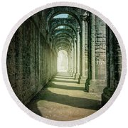 Through The Colonnade Round Beach Towel