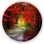 Through The Crimson Leaves To A Golden Beginning Round Beach Towel