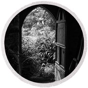 Round Beach Towel featuring the photograph Through The Door by Clare Bambers