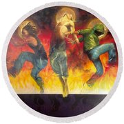 Through The Fire Round Beach Towel by Christopher Marion Thomas