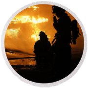 Through The Flames Round Beach Towel