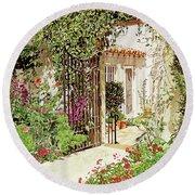 Through The Garden Gate Round Beach Towel