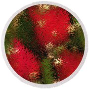 Strawberries Behind  The Glass Round Beach Towel by Maciek Froncisz