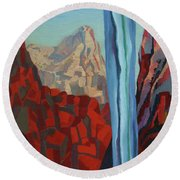 Round Beach Towel featuring the painting Through The Narrows, Zion by Erin Fickert-Rowland