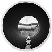 Round Beach Towel featuring the photograph Through The Pipe by Keith Elliott