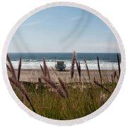 Round Beach Towel featuring the photograph Through The Reeds by Lorraine Devon Wilke