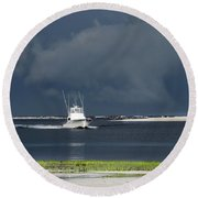 Round Beach Towel featuring the photograph Through The Storm by Phil Mancuso