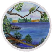 Through The Trees At Ocean Inlet Beach Round Beach Towel by Donna Walsh