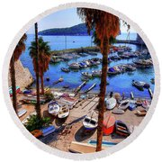 Through The Trees Dubrovnik Harbour Round Beach Towel