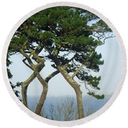 Through The Trees To Godrevy From St. Ives Round Beach Towel