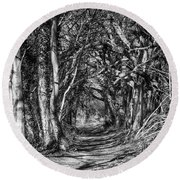 Through The Tunnel Bw 16x20 Round Beach Towel