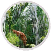 Through The Waterfall Round Beach Towel