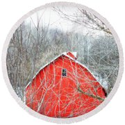 Round Beach Towel featuring the photograph Through The Woods by Julie Hamilton