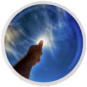 Thumb To The Sky Round Beach Towel