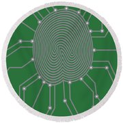 Thumbprint With Circuit Board Illustration Round Beach Towel