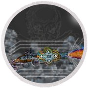 Round Beach Towel featuring the digital art Thunder Gun Of The Dead by Iowan Stone-Flowers