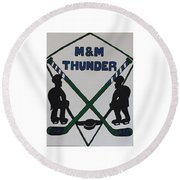 Thunder Hockey Round Beach Towel