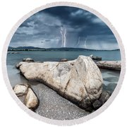 Thunderstorm  Round Beach Towel