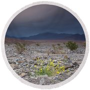 Thunderstorm Over Death Valley National Park Round Beach Towel