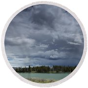 Thunderstorm Over Indian Pond Round Beach Towel