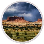 Thunderstorms Approach A Mesa Round Beach Towel