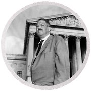 Round Beach Towel featuring the photograph Thurgood Marshall by Granger