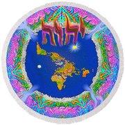 Y H W H Creation Mandala Flat Earth Round Beach Towel
