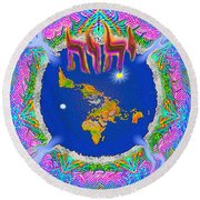 Y H W H Creation Mandala Flat Earth Round Beach Towel
