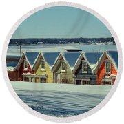 Winter View Ti Park Boathouses Round Beach Towel