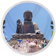 Tian Tan Buddha Or The Big Buddha Hong Kong Round Beach Towel