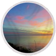 Sunset At Tibbetts Point Light, 2015 Round Beach Towel
