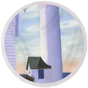 Round Beach Towel featuring the painting Tibbett's Point by Lynne Reichhart