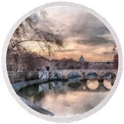 Round Beach Towel featuring the photograph Tiber - Aquarelle by Sergey Simanovsky