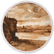 Tiber Landscape North Of Rome With Dark Cloudy Sky Round Beach Towel