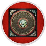 Tibetan Om Mantra Mandala In Gold On Black And Red Round Beach Towel