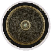 Tibetan Thangka - Green Tara Goddess Mandala With Mantra In Gold On Black Round Beach Towel