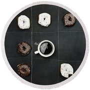 Tic Tac Toe Donuts And Coffee Round Beach Towel by Stephanie Frey