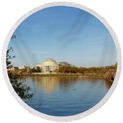 Tidal Basin And Jefferson Memorial Round Beach Towel by Megan Cohen