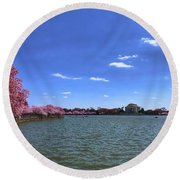 Tidal Basin Cherry Blossoms Round Beach Towel