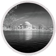 Tidal Basin Jefferson Memorial Round Beach Towel by Paul Seymour