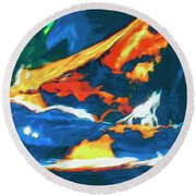 Round Beach Towel featuring the painting Tidal Forces by Dominic Piperata