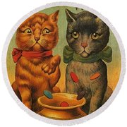 Tiddledy Winks Funny Victorian Cats Round Beach Towel