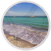 Tide Change At Minot Beach In Scituate Massachusetts Round Beach Towel